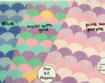 """3 full sheets 1"""" mermaid scales printed wafer paper (choose one color) for cake or cupcake decorating. 8""""x10"""" fish scale edible paper prints"""