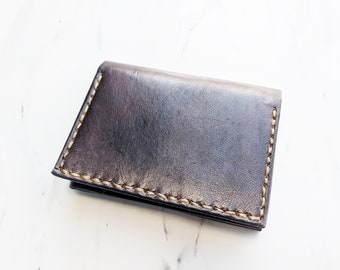 Mens Leather wallet / Trifold wallet / Black wallet / gift for him / Unique gift