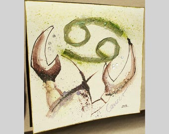 constellation Cancer,image,individual gift, abstract art, zodiac,horoscope,star sign,collage,painting,unique,green,picture,mixed media,small