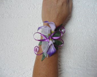 Bracelet flowers for bride or witness - mauve purple and white