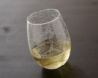 New York City Maps Stemless Wine Glass