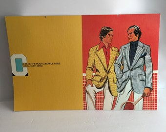 Vintage Advertising Sign Curlee Clothing 1970s Menswear Shop Cardboard Lithograph Sign 1970's Retro Colorful Pride