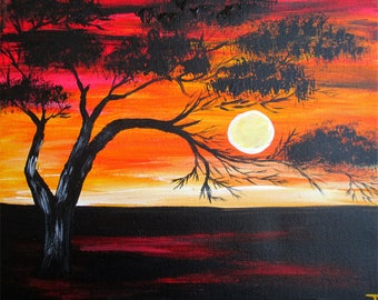 ORIGINAL WALL Art Living Room on Canvas WALL Decor Abstract Painting Contemporary Acrylic African Sunset Landscape Tree Modern by Tanja Bell