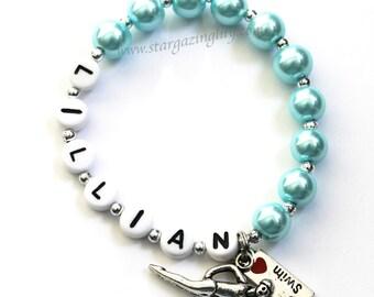 I LOVE to SWIM Charm Bracelet. Swimming girl charm. Personalized name bracelet. Swim Team. Gift for Swimmer.