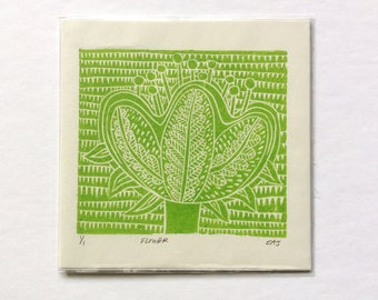 linocut - FLOWER // 6x6 art print // printmaking // block print // nature art // green // original // square // small // wall art