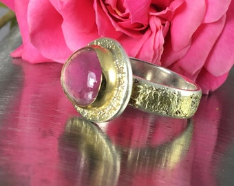 Sterling Silver and Fused Gold Watermelon Tourmaline Ring