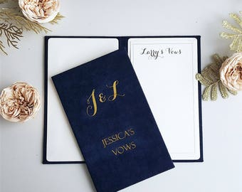 Personalised Wedding Vow Books, Gold Foil Vow Book, Set of Vow Books, Custom Vow Books, Wedding Vows Booklet, Set of 2 Books
