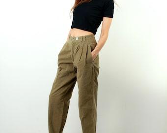 Khaki Women Pants / Khaki Trousers / Mom Pants / High Waist Pants / 80s Pans / Boyfriend Pants / Mum Pants / Tom Taylor / Sie L