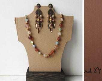 SALE One Necklace Bust Reversible - Kraft Brown / Brown Fabric - Recycled Book Cover