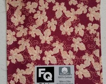 "Fabric Quarters Cotton Fabric 18""-  Burgundy Leaves"