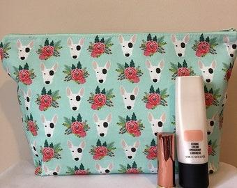 English Bull terrier dog makeup/toilet bag
