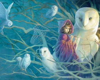 "Girl Catching Dreams 11x17 Fine Art Print, Owls Art, Magical Forest Painting - ""Dreamstealer"""
