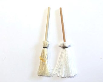 Miniature Mop and Broom Dollhouse Kitchen Supply Set of 2 Halloween Diorama Shadow Box Art Supply 1:12 Scale - 324