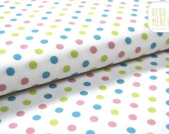 Organic fabric - pink, blue and lime green dots - GOTS C.Pauli