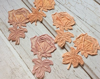 vintage sheer applique,rose motif's,set of 5,vintage seventies,rose patches,embellishment,hand dyed,orange,taupe,fabric rose,crazy quilting