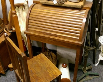 Childs Oak Roll Top Desk, Vintage Small Wooden Child's Desk and Chair, LOCAL PICKUP ONLY