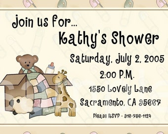 Baby Shower Party Invitation, CUSTOM for YOU - 4x6 or 5x7 size - adorable toys in box - you print