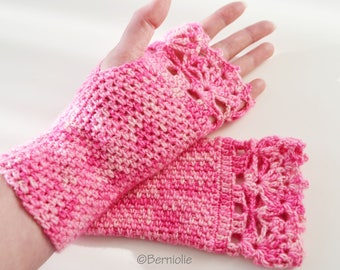 Crochet cotton blend gloves with lace trim, pink, R600