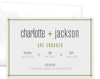 Engagement Party Invitation, You + Me, Engagement Announcement, Engagement Dinner, We're Engaged, Modern Engagement, Minimalist Design