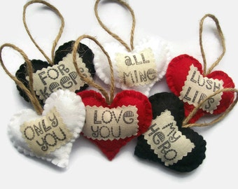 Fun Gifts for Husband, Boyfriend, Custom Hand Stamped Anniversary Gifts for Girlfriend, Fiance, Set of 6 Felt Hearts