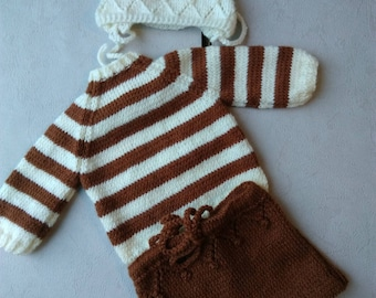 Sailor sweater Pant and hat baby bonnet 6/9 months