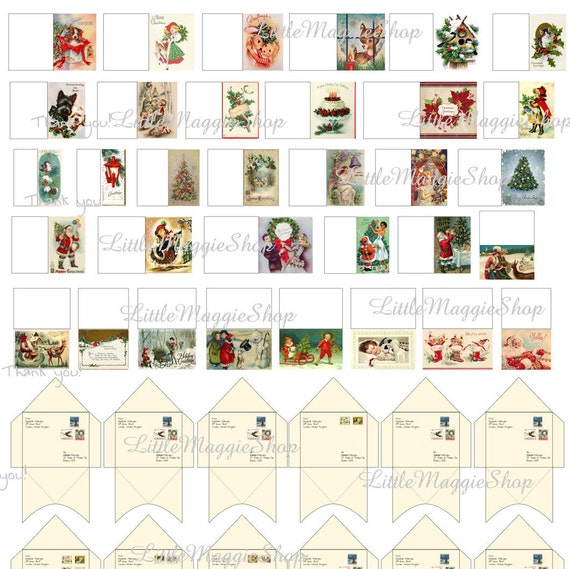 Printable Christmas Dollhouse Miniature Greeting Cards With