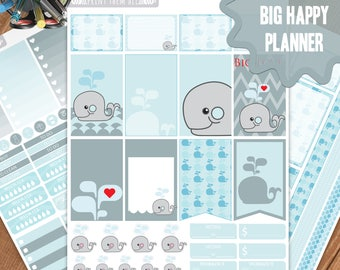 Whale Planner Stickers Printable, Big Happy Planner Stickers, Weekly Planner Kit, Planner Stickers, Big MAMBI Planner Stickers, Digital