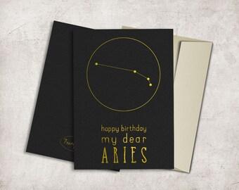 Aries Constellation Birthday Card Printable, Horoscope Birthday Card, Aries Birthday Card, Zodiac Birthday Card, Digital File