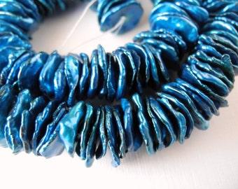 Freshwater Keishi Pearls Center Drill Cobalt Blue  Bright Blue Cornflake Petal Pearls 12mm 13mm 4 inch Strand