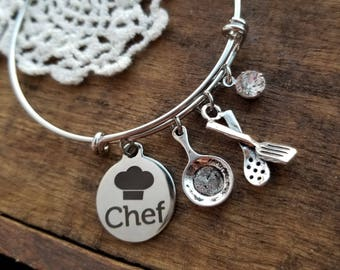 Gift for a Chef, chef gifts, gift for culinary student graduation, chef bracelet, food jewelry, gift for chef, culinary arts graduation gift
