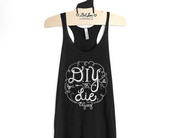 Sale Large- Tri-Blend Black Racerback Tank with DIY or DIE Screen Print