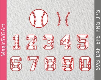 Baseball Numbers, Softball, SVG, DXF, EPS, Cut Files, png, jpg, Sports, Varsity, Laces, Stitches, Vinyl, Silhouette, Cricut