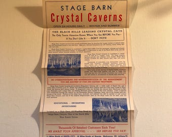 Vintage Stage Barn Crystal Caverns Advertising Flyer Rapid City, SD