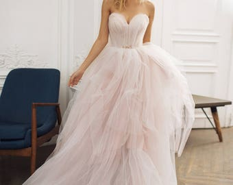 Tulle wedding dress etsy tulle wedding dress augusta strapless dress with nude junglespirit Images