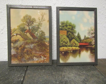 2 Antique Pictures of Rural Country Scenes ** 1900s pictures ?  each picture is 5 inches wide   by 7 inches tall **metal frames
