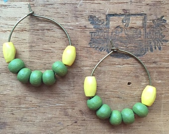 Everyday Style, Perfect Affordable Christmas Gift! WOMEN'S EARRINGS, Yellow, Green, Wood, Brass, Lightweight, 25mm, Boho Chic!