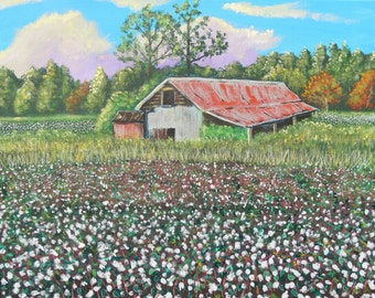 Carolina Cotton Field (original acrylic painting) Cotton field art, Southern art, Southern tradition painting.