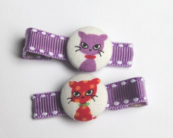 Rainbow Cats.....................2 button hair clips....U Pick Color