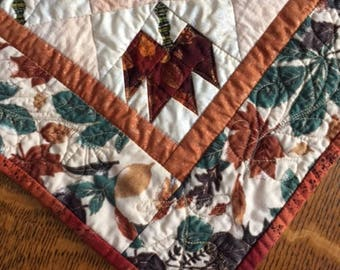 Autumn Elegance Table Runner, Hand Made Quilted Fall Table Runner, Fall Leaves Patchwork Table Runner