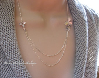 Mothers Day SilverMulti Strand Orchid Necklace, Silver Flower Necklace