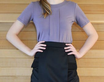 Women's Purple Short Sleeve Top With Center Box Pleat Front