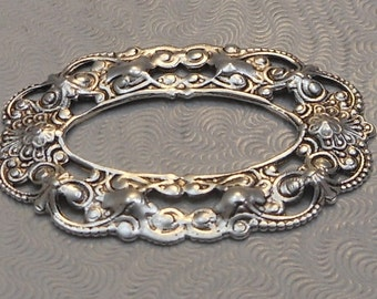 LuxeOrnaments Antiqued Sterling Silver Plated Brass Filigree Frame 38x25.5mm (1 pc) S-8436-S