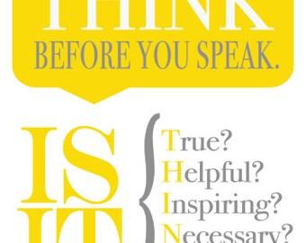 THINK before you Speak digital 8x10 printable
