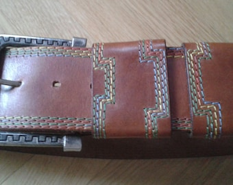 "80s TAN BELT, Vintage Sportswear '80 belt, woman WAIST Belt, tan leather with Multicolor stitching, size 26"" to 30"" - Genuine Leather Belt."