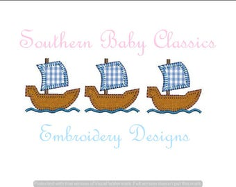 Ship Row Blanket Stitch Applique Three Trio Design File for Embroidery Machine Instant Download Thanksgiving Pilgrims Pirate