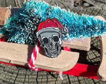 Santa Skull Enamel Pin Christmas Gifts Stocking Stuffers Punk Enamel Pin Death Enamel Pin Horror Enamel Pin Halloween Skeleton Enamel Pin