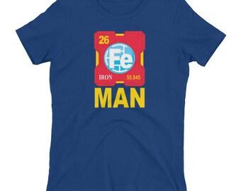 Iron Man Periodic Table Women's T-shirt // Funny Iron Man Shirt // Trendy Marvel Shirt // Chemistry T Shirt // Chemical Element Shirt