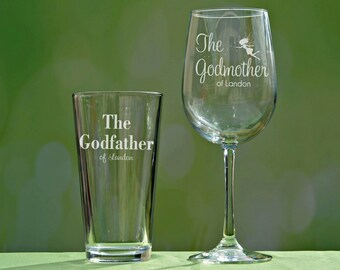 Godfather Godmother Gift, Baptism Gift for Godparents, Will You Be My Godparents, Christening Gift, Fairy Godmother Wine Glass, Godfather
