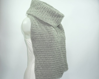 Knit scarf, long knit scarf, knit shawl, chunky Knit scarf in gray, men knit scarf, women knit scarf