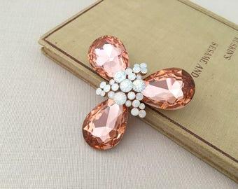 ROSE GOLD Bridal Brooch.Rose Gold Brooch.Rose Gold Crystal Brooch.Rose Gold Pin.Bridal Brooch.Bride.Rose Gold Broach.